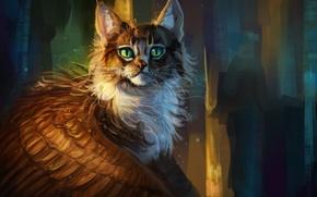 Картинка фэнтези, крылатая кошка, by AlaxendrA