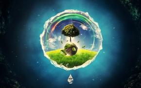 Картинка дерево, круг, creative, рендер, digital art