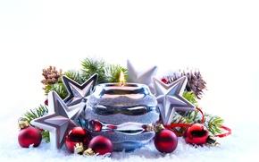 Картинка зима, украшения, новый год, рождество, свечи, праздни