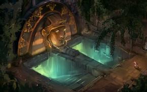 Обои человек, свечение, голова, арт, бег, ступени, храм, статуя