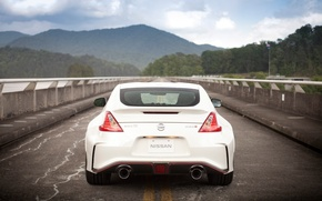 Картинка Nissan, rain, drops, 370Z, Nismo, rear end