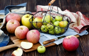 Картинка стол, яблоки, нож, доска, фрукты, корзинка, салфетки, Julia Khusainova