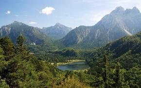 Картинка лес, горы, озеро, Германия, Бавария, Neuschwanstein, Germany, Bavaria, Alps, замок.