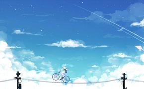 Картинка небо, девушка, облака, велосипед, провода, аниме, арт, vocaloid, hatsune miku, bai yemeng