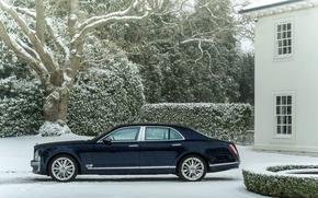 Картинка Зима, Авто, Bentley, Синий, Снег, Машина, Здание, седан, Люкс, Вид сбоку, mulsanne, Снегопад