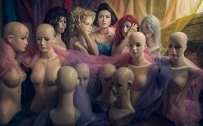 Картинка девушка, манекены, причёски