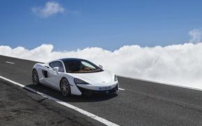 Картинка дорога, авто, небо, облака, McLaren, 570GT