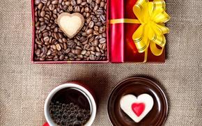 Картинка праздник, коробка, подарок, сердце, кофе, зерна, чашка, пирожное
