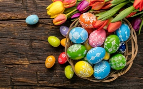 Обои яйца, colorful, Пасха, тюльпаны, happy, wood, flowers, tulips, spring, Easter, eggs, holiday