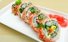 Картинка rolls, sushi, суши, роллы, японская кухня, имбирь, ginger, Japanese cuisine
