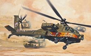 Картинка art, painting, Helicopter, AH-64 Apache