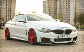 Картинка bmw, turbo, red, white, tuning, power, germany, low