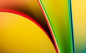 Картинка макро, лист, бумага, цвет, радуга, изгиб