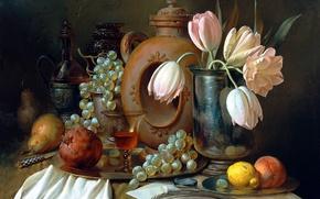 Картинка цветы, перо, Алексей Антонов, лупа, гранат, письмо, абрикос, ягоды, конверт, поднос, виноград, посуда, ваза, картина, ...