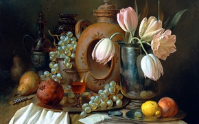 Картинка письмо, цветы, ягоды, стол, перо, лимон, бокал, картина, виноград, нож, тюльпаны, посуда, ваза, фрукты, натюрморт, ...