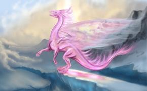 Картинка розовый, дракон, полёт