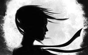 Картинка черно-белое, лента, арт, ветер, профиль, волосы, девушка, шар