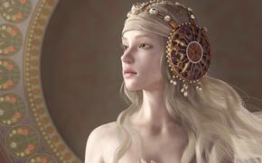 Картинка девушка, украшения, фон, узор, волосы