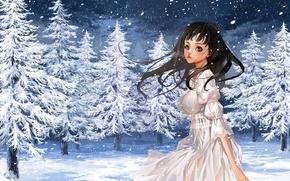 Картинка зима, девушка, снег, природа, елки, аниме, арт, пар, justminor
