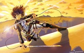 Картинка взгляд, девушка, закат, оружие, стена, клинки, art, shingeki no kyojin, mikasa ackerman, Luna Selenium