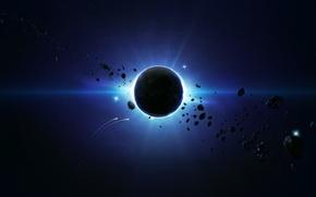 Картинка Планета, Астероиды, Blue Spase, Behind the Scene