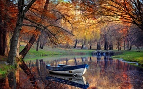 Картинка деревья, пруд, парк, лодка