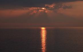 Картинка море, солнце, закат, вечер, солнечная дорожка