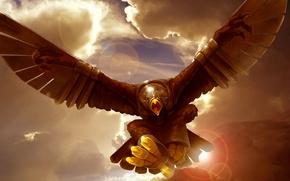 Картинка полет, фантастика, птица, орел