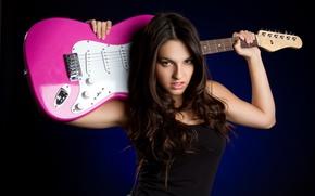 Картинка Girl, Rock, Brunette, Music, Beauty, Background, Electric Guittar