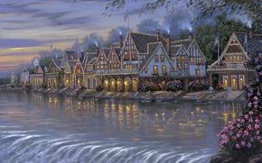 Картинка вода, цветы, трубы, отражение, река, берег, дым, картина, лодки, вечер, огоньки, домики, флаги, Robert Finale, …