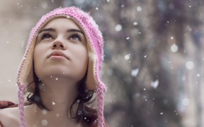 Картинка зима, девушка, снег, снежинки, девушки, настроения, шапка, девочка