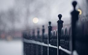 Картинка макро, снег, улица, забор