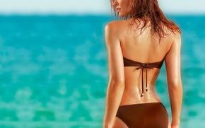 Обои море, пляж, женщина