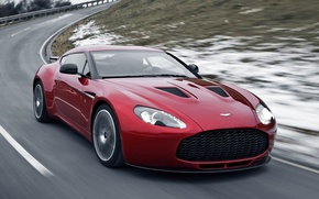 Картинка дорога, снег, астон мартин, aston martin, передок, красивая машина, v12, в12, загато, zagato, суперкар.красный