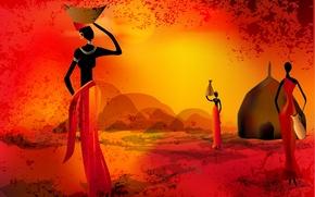 Картинка женщины, солнце, закат, силуэт, африка