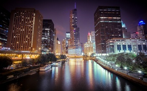 Картинка ночь, город, огни, река, небоскребы, Чикаго, Chicago, Иллиноис