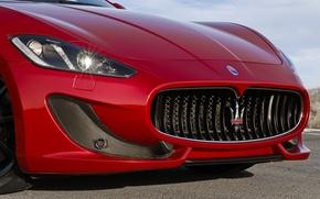 Картинка Maserati, Лого, Решетка, Фары, Передок, Grancabrio