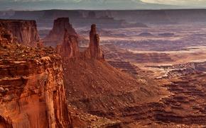 Обои США, камни, долина, скалы, панорама, Mesa Arch, каньон, Canyonlands National Park
