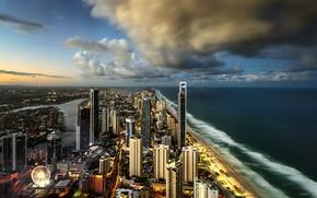 Картинка город, океан, небоскребы, Australia, Surfers Paradise, City of Gold Coast