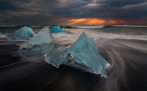 Картинка небо, лучи, свет, лёд, Исландия, ледниковая лагуна Йёкюльсаурлоун