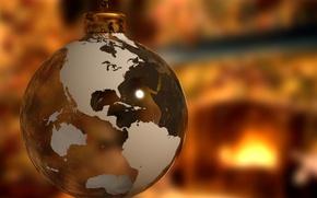 Картинка земля, игрушка, новый год, шар, рождество, christmas, new year