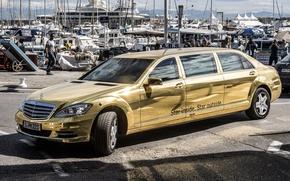 Картинка фон, Mercedes-Benz, яхты, Мерседес, золотой, передок, лимузин, спец.версия, Pullman, S-Klasse, Festival de Cannes