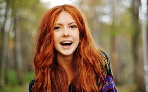 Обои девушка, настроение, смех, рыжая, girl, красивая, весёлая