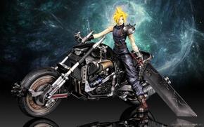 Картинка мотоциклы, cloud strife, final fantasy, final fantasy 7, final fantasy vii
