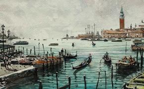 Обои картина, Максимилиан Дамико, дома, лодки, городской пейзаж, башня, акварель, Венеция