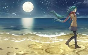 Картинка девушка, ночь, берег, hatsune miku, anime, art, kari kenji