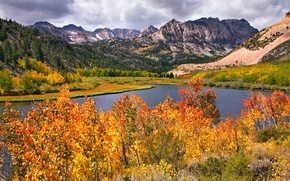 Обои осень, горы, деревья, река, пейзаж, листья