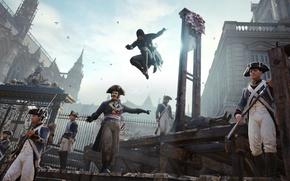 Картинка ассасин, Assassin's Creed: Unity, стража, солдаты, убийство, гильотина