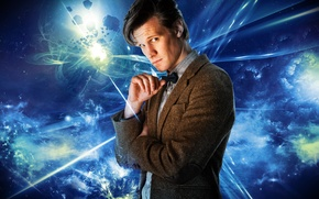 Картинка взгляд, фон, актер, мужчина, Doctor Who, Доктор Кто, BBC, Мэтт Смит, Matt Smith, Одиннадцатый Доктор, …