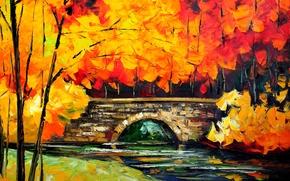Картинка картина, осень, мост, деревья, река, пейзаж, листья